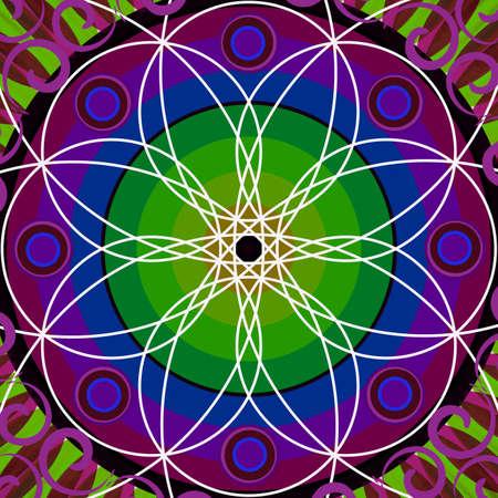 chakra awareness: Floral mandala drawing sacred circle background Stock Photo