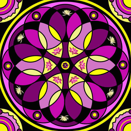 mandala: Floral mandala drawing sacred circle background Stock Photo