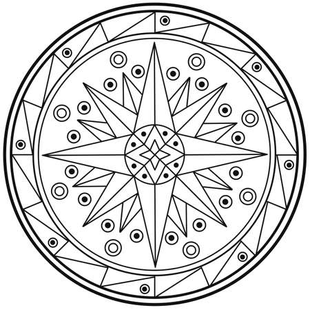 Geometrische mandala heilige cirkel Black and White Kleurplaat Overzicht Stockfoto