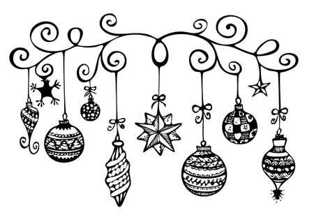 Christmas ornaments sketch in black and white photo