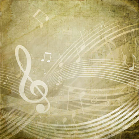 musical score: Wavy score with musical notes on grunge sepia background
