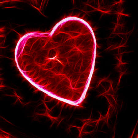 fractal pink: Big heart in red with shining sparks