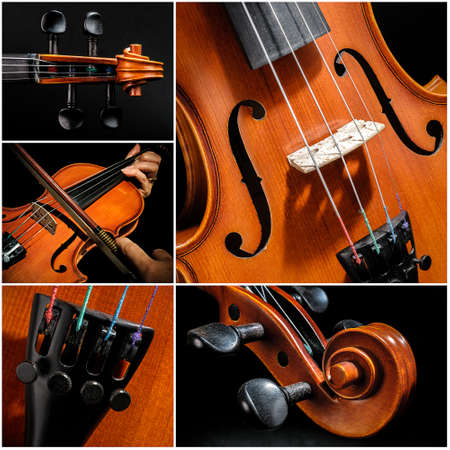 Collage with five detail images of a violin photo