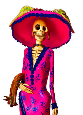 Day of the dead  Traditional mexican Catrina skeleton isolated Imagens