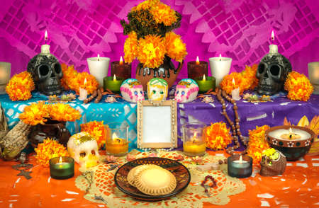 skull and flowers: Traditional mexican Day of the dead altar with sugar skulls Stock Photo
