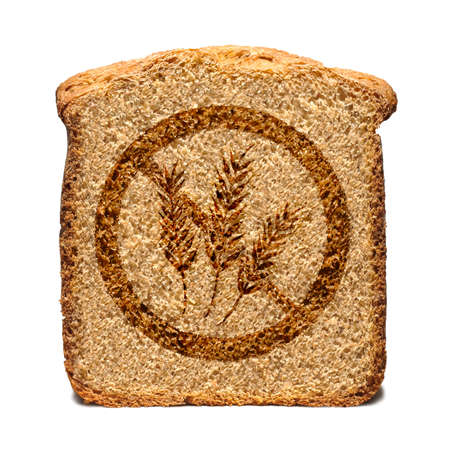 toasted bread: Bread slice marked with gluten free stamp isolated