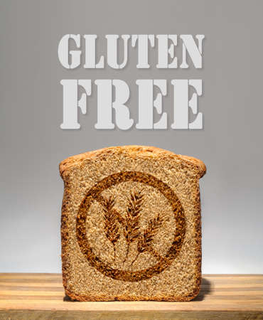 Bread slice marked with gluten free stamp photo