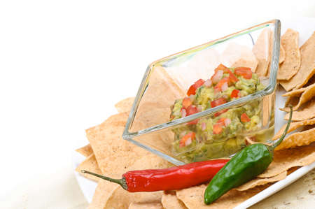 totopos: Guacamole with corn tortilla chips and chili