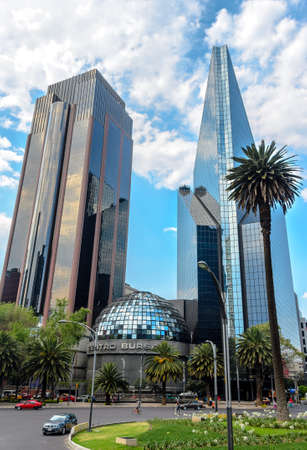 paseo: Mexico City, Mexico, March 2, 2014 � Mexican Stock Exchange or Bolsa Mexicana de Valores in Paseo de la Reforma in Mexico City