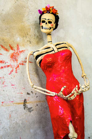 Day of the dead. Traditional mexican catrina skeleton on rough wall