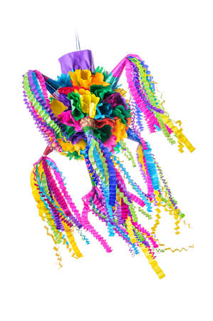 Pinata, Mexican traditional crafted toy very popular in posadas and parties, white isolated Imagens