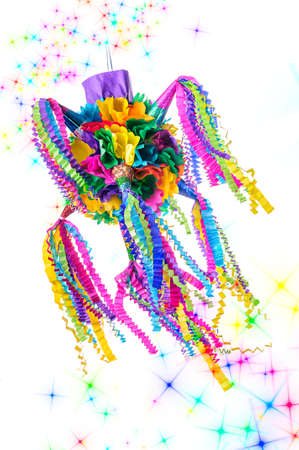 Pinata, Mexican traditional crafted toy very popular in posadas and parties, white isolated photo