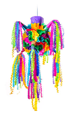 Pinata, Mexican traditional crafted toy very popular in posadas and parties, white isolated Stock Photo