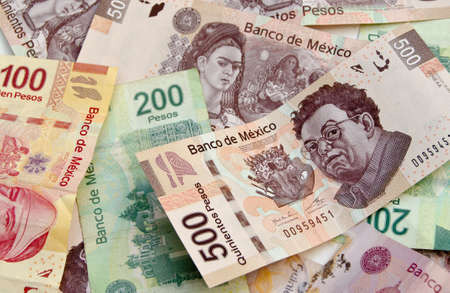 Mexican Pesos, bank notes, currency bills, money background Imagens