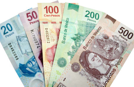 Mexicaanse Peso, bankbiljetten op een witte achtergrond