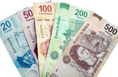 Pesos Mexicanos, billetes de banco aislados en el fondo blanco Foto de archivo - 34417813