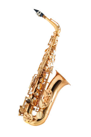 saxofon: Instrumento clásico saxofón aislado en blanco