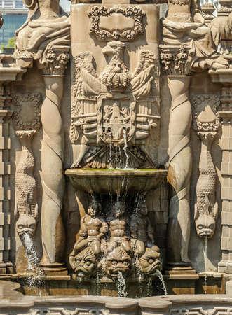 fount: Salto del agua fountain in the historic center of Mexico City.