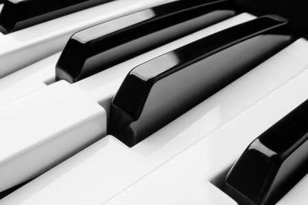 Piano toetsen close-up zwart-wit Stockfoto