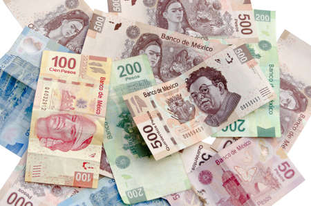 Mexican Pesos, bank notes, currency bills, money background 스톡 콘텐츠