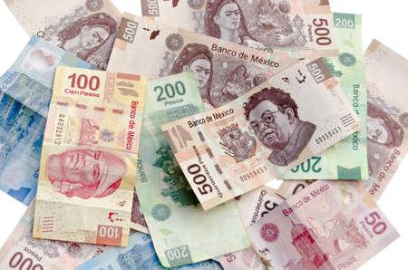 Mexicaanse Peso, bankbiljetten, valuta wissels, geld achtergrond Stockfoto
