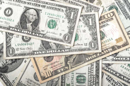 us money: Dollar assorted bills, cash pile background Stock Photo