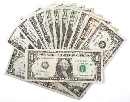 cash: Dollar assorted bills, cash pile background Stock Photo