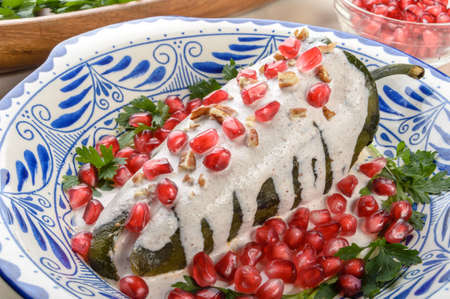 Chiles en nogada, a dish from Mexican cuisine Stockfoto