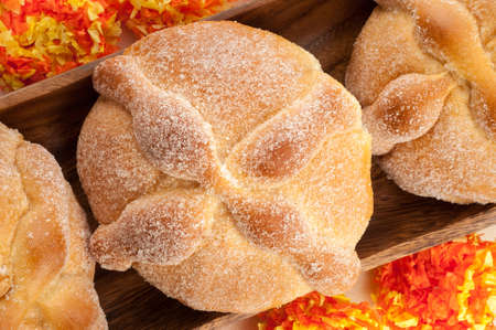 day of the dead: Sweet bread called Bread of the Dead (Pan de Muerto) enjoyed during Day of the Dead festivities in Mexico. Stock Photo