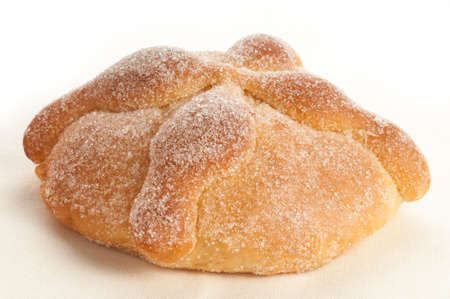 bread: Sweet bread called Bread of the Dead (Pan de Muerto) enjoyed during Day of the Dead festivities in Mexico. Stock Photo
