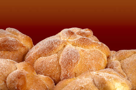 legends folklore: Sweet bread called Bread of the Dead (Pan de Muerto) enjoyed during Day of the Dead festivities in Mexico. Stock Photo
