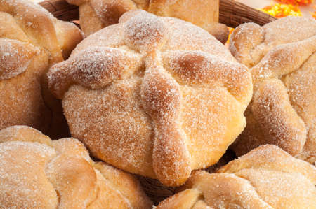 pan: Sweet bread called Bread of the Dead (Pan de Muerto) enjoyed during Day of the Dead festivities in Mexico. Stock Photo