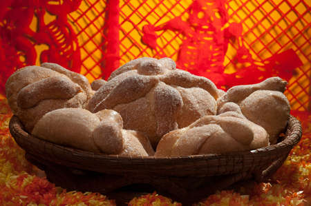 bread: Sweet bread called Bread of the Dead Pan de Muerto enjoyed during Day of the Dead festivities in Mexico. Stock Photo