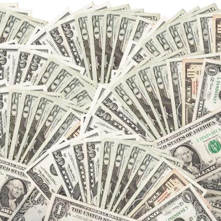 cash: Dollars assorted bills, cash pile background Stock Photo