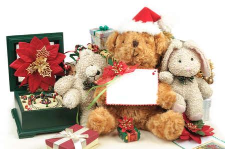teddybear: Christmas decoration with teddy bear, toys & gifts, white space card