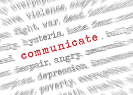 Blured Text Zoom-Effekt mit Fokus auf Kommunikation Standard-Bild - 55285176