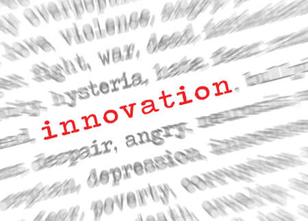 target thinking: Blured text zoom effect with focus on innovation Stock Photo