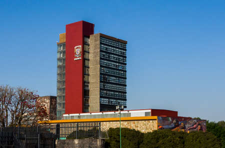 nacional: CIUDAD DE MEXICO  MEXICO - FEBRUARY 23 2016: View of the Rectoria Building of National Autonomous University of Mexico (Universidad Nacional Autonoma de Mexico, UNAM)