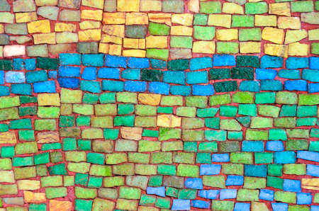 architectural styles: Wall made of colorful stone tiles Stock Photo