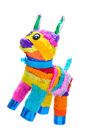 Pi�±ata, Mexican traditional crafted toy very popular in posadas and parties, white isolated Standard-Bild