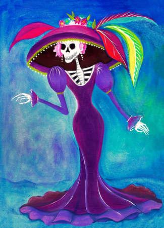 la calavera catrina Día de los Muertos Catrina esqueleto, ilustración Muerte elegante mexicana