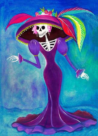 mexican folklore: Day of the Dead Catrina Skeleton, Mexican Elegant Death illustration