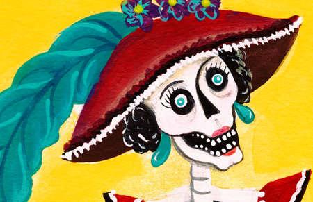 Esqueleto del día de los muertos Catrina, ilustración de la muerte elegante mexicana Foto de archivo