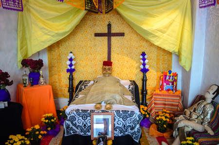 festivities: CUERNAVACA  MEXICO - OCTOBER 31 2013: Day of the Dead Altar shown in the Brady Museum of Cuernavaca for the festivities season. Editorial