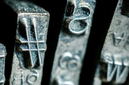 Hashtag symbol of an old typewriter typebars