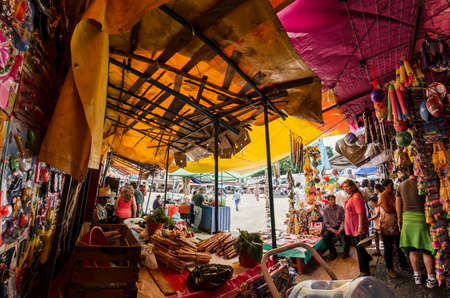 mexico: TEPOZTLAN  MEXICO - SEPTEMBER 17 2016: Tepoztlans weekend folkloric market, Mexico. Editorial