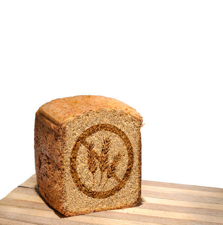 marked: Bread marked with gluten free stamp isolated Stock Photo