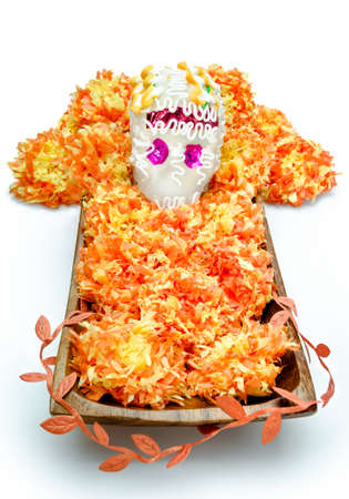 Sugar skull altar for Dia de los Muertos celebration, isolated on white background