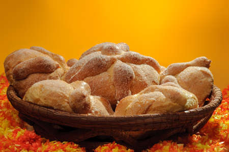 festivities: Sweet bread called Bread of the Dead (Pan de Muerto) enjoyed during Day of the Dead festivities in Mexico. Stock Photo