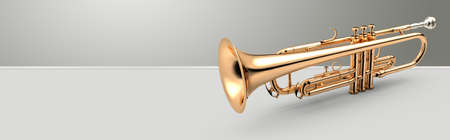 in tune: Trumpet - Golden trumpet classical instrument banner, 3D illustration Stock Photo